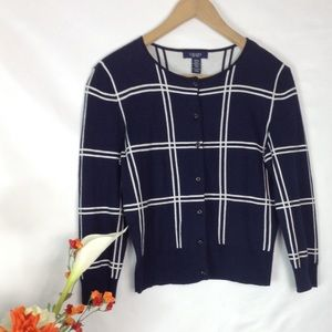 Chaps navy and white cardigan